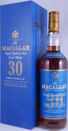 Macallan 30 Years Sherry Wood Highland Single Malt Scotch Whisky Blue Wooden Box 43,0%