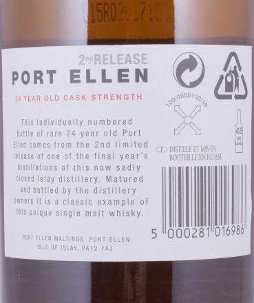 Port Ellen 1978 24 Years 2nd Release Limited Edition Islay Single Malt Scotch Whisky Natural Cask Strength 59.35%