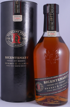 Highland Park Bicentenary Vintage 1977 Reserve 21 Years Orkney Islands Single Malt Scotch Whisky 40,0%