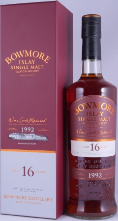 Bowmore 1992 16 Years Limited Release Limousin Bordeaux Wine Cask Islay Single Malt Scotch Whisky Cask Strength 53.5%