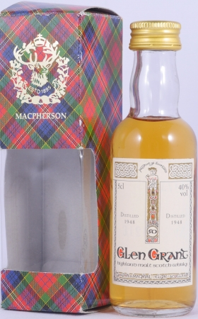 Glen Grant 1948 50 Years Miniatur Highland Single Malt Scotch Whisky Gordon and MacPhail Book of Kells 40,0%