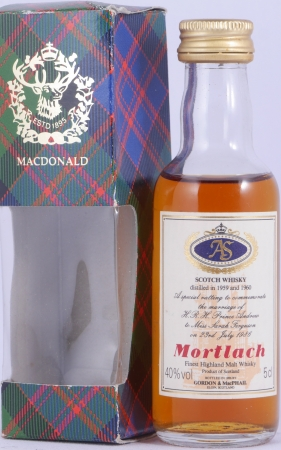 Mortlach 1959 und 1960 Special Vatting Miniature Highland Single Malt Scotch Whisky Gordon and MacPhail 40.0%