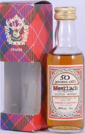 Mortlach 1939 50 Years Miniature Rare Highland Single Malt Scotch Whisky Gordon and MacPhail 40.0%