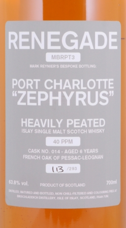 Bruichladdich 2007 6 Years Port Charlotte Zephyrus Renegade MBRPT3 Cask 014 Islay Single Malt Scotch Whisky 63.8%