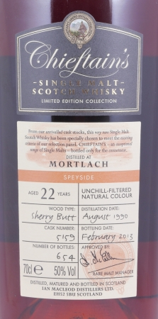 Mortlach 1990 22 Years Sherry Butt Cask 5159 Chieftains Choice Speyside Single Malt Scotch Whisky 50.0%