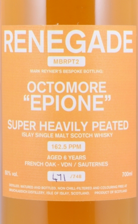 Bruichladdich 2007 6 Years Octomore Epione Renegade MBRPT2 Islay Single Malt Scotch Whisky 50.0%