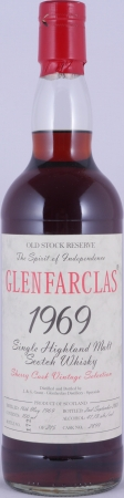 Glenfarclas 1969 34 Years Old Stock Reserve Sherry Cask 2899 Vintage Selection Highland Single Malt Scotch Whisky 44.1%