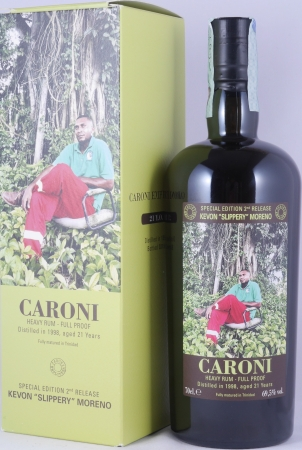 "Caroni 1998 21 Years Employees Special Edition 2nd Release Kevon ""Slippery"" Moreno Full Proof Heavy Trinidad Rum 69.5%"