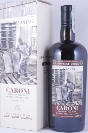 "Caroni 1996 23 Years Employees Special Edition 2nd Release David ""Sarge"" Charran Full Proof Heavy Trinidad Rum 66.5%"