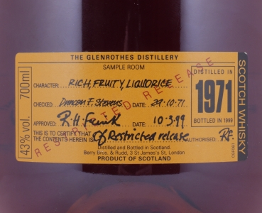 Glenrothes 1971 27 Years First Fill American Oak Sherry Cask Restricted Release Speyside Single Malt Scotch Whisky 43.0%