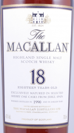 Macallan 1990 18 Years Sherry Oak Highland Single Malt Scotch Whisky 43.0%