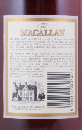 Macallan 1990 12 Years Elegancia Sherry Cask Highland Single Malt Scotch Whisky 40.0%