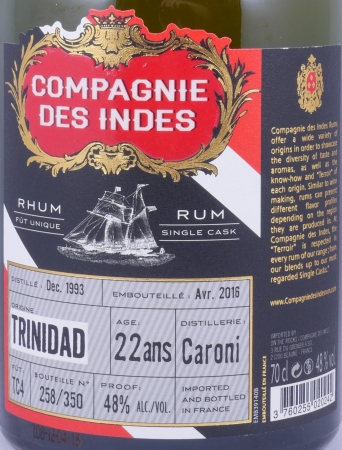 Compagnie Des Indes Caroni 1993-2016 22 Years Single Cask Trinidad Rum 48,0%