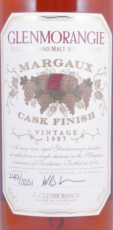 Glenmorangie 1987 18 Years Chateau Margaux Cask Finish Highland Single Malt Scotch Whisky 46,0%