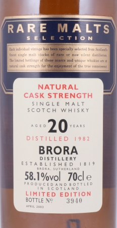 Brora 1982 20 Years Highland Single Malt Scotch Whisky Diageo Rare Malts Selection 58,1%