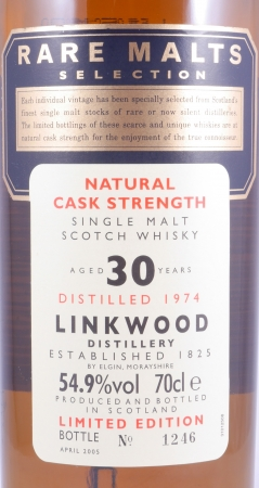 Linkwood 1974 30 Years Speyside Single Malt Scotch Whisky Diageo Rare Malts Selection Cask Strength 54.9%