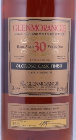 Glenmorangie 1972 30 Years Rare Oloroso Cask Finish Highland Single Malt Scotch Whisky Cask Strength 44.3%
