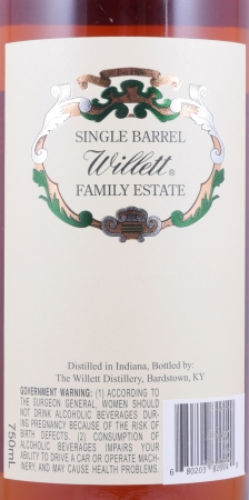Willett 8 Years Family Estate Bottled Single Barrel No. 1433 Straight Rye Whiskey Cask Strength 57.4%