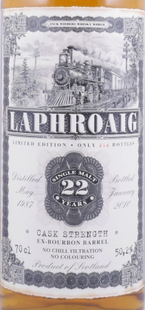 Laphroaig 1987 22 Years Jack Wiebers Old Train Line Collection Islay Single Malt Scotch Whisky Cask Strength 50.2%