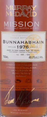 Bunnahabhain 1976 32 Years Fino Sherry and Chateau d Yquem Cask Islay Single Malt Scotch Whisky 49.0%