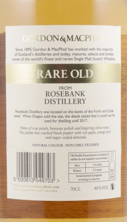 Rosebank 1990 25 Years Lowland Single Malt Scotch Whisky Rare Old Edition Gordon and MacPhail Cask Strength 46,0%