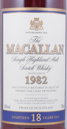 Macallan 1982 18 Years Sherry Oak Highland Single Malt Scotch Whisky 43.0%