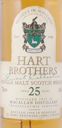 Macallan 1972 Hart Brothers 25 Years Finest Collection Special Reserve Sherry Wood Single Malt Scotch Whisky 43.0%