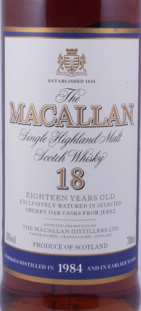 Macallan 1984 18 Years Sherry Oak Highland Single Malt Scotch Whisky 43,0%