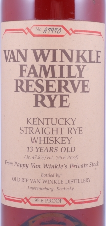 Van Winkle 13 Years Family Reserve Kentucky Straight Rye Whiskey No. A7970 Stitzel-Weller Lawrenceburg 47.8%