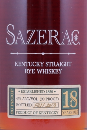 Sazerac 18 Years 1995 Fall of 2013 Buffalo Trace Antique Collection Kentucky Straight Rye Whiskey 45.0%