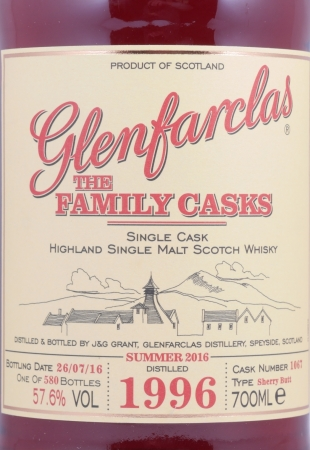 Glenfarclas 1996 20 Years The Family Casks Sherry Butt Cask 1067 Highland Single Malt Scotch Whisky 57,6%