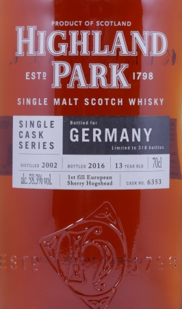 Highland Park 2002 13 Years 1st Fill Sherry Hogshead Cask 6353 Single Malt Scotch Whisky Cask Strength 58,3%
