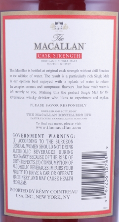 Macallan Cask Strength Highland Single Malt Scotch Whisky Remy Cointreau USA 60.1%