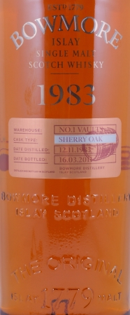 Bowmore 1983 27 Years Sherry Cask Vintage Edition No. 1 Vaults Islay Single Malt Scotch Whisky Cask Strength 55,6%
