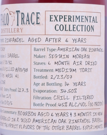 Buffalo Trace 1992 14 Years Zinfandel American Oak Bourbon Whiskey 3. Release 2007 Experimental Collection 45.0%