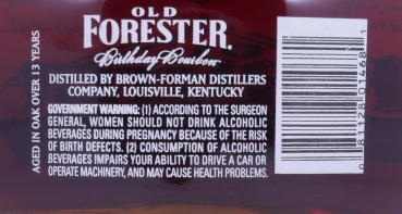 Old Forester Spring 1993 13 Years 2006 Birthday Edition 6. Release Kentucky Straight Bourbon Whiskey 48,0%