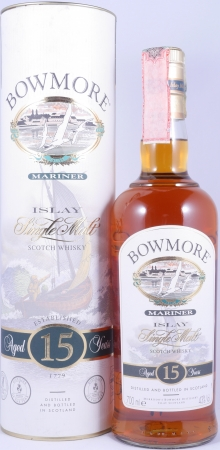 Bowmore 15 Years Mariner Islay Single Malt Scotch Whisky Seagull Label with 3 Icons 43,0%