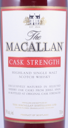 Macallan Cask Strength Highland Single Malt Scotch Whisky Remy Cointreau USA 59,0%