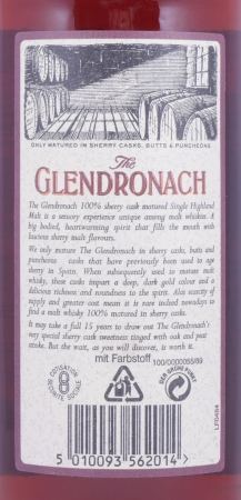 Glendronach 15 Years Old Bottling 100% Matured in Sherry Casks Highland Single Malt Scotch Whisky 40.0%