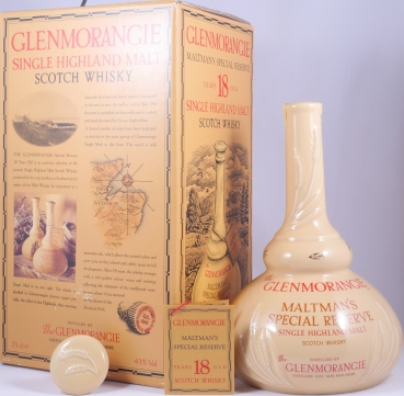 Glenmorangie 18 Years Maltmans Special Reserve Cream Pot Still Shaped Decanter Highland Single Malt Scotch Whisky 43.0%