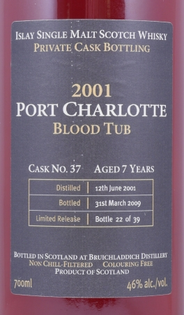 Bruichladdich 2001 Port Charlotte Blood Tub 7 Years Limited Private Cask No. 37 Islay Single Malt Scotch Whisky 46,0%