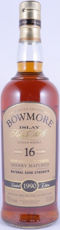 Bowmore 1990 16 Years Sherry Cask Limited Edition Bottling Islay Single Malt Scotch Whisky Cask Strength 53,8%