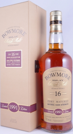 Bowmore 1991 16 Years Port Cask Limited Edition Bottling Islay Single Malt Scotch Whisky Cask Strength 53.1%