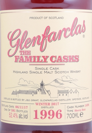 Glenfarclas 1996 21 Years The Family Casks Sherry Butt Cask 1498 Highland Single Malt Scotch Whisky 52,4%