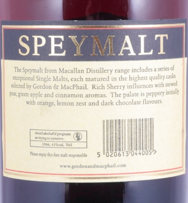 Macallan Speymalt 1966 48 Years First Fill Sherry Butt Highland Single Malt Scotch Whisky 43,0%