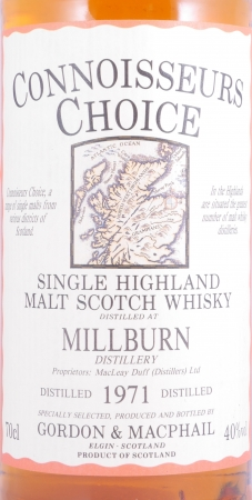 Millburn 1971 20 Years Highland Single Malt Scotch Whisky Connoisseurs Choice Gordon and MacPhail 40.0%