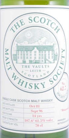 Glenlochy 1981 14 Years Society Cask No. 62.7 Highland Single Malt Scotch Whisky Scotch Malt Whisky Society 61.5%