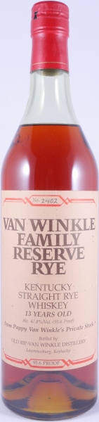 Van Winkle 13 Years No. 2402 Family Reserve Kentucky Straight Rye Whiskey Stitzel-Weller Lawrenceburg 47,8%