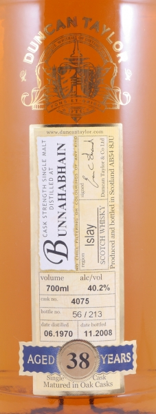 Bunnahabhain 1970 38 Years Cask 4075 Islay Single Malt Scotch Whisky Duncan Taylor Cask Strength Rare Auld Edition 40,2%
