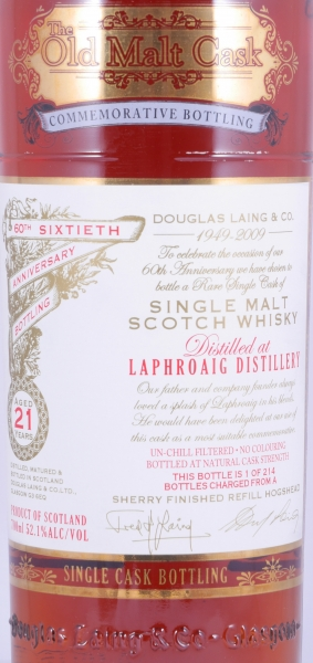 Laphroaig 1988 21 Years Islay Single Malt Scotch Whisky Old Malt Cask 60th Anniversary Commemorative Bottling 52,1%